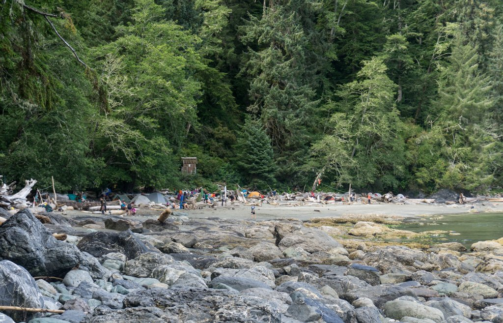 Campers at Thrasher Cove on the West Coast Trail