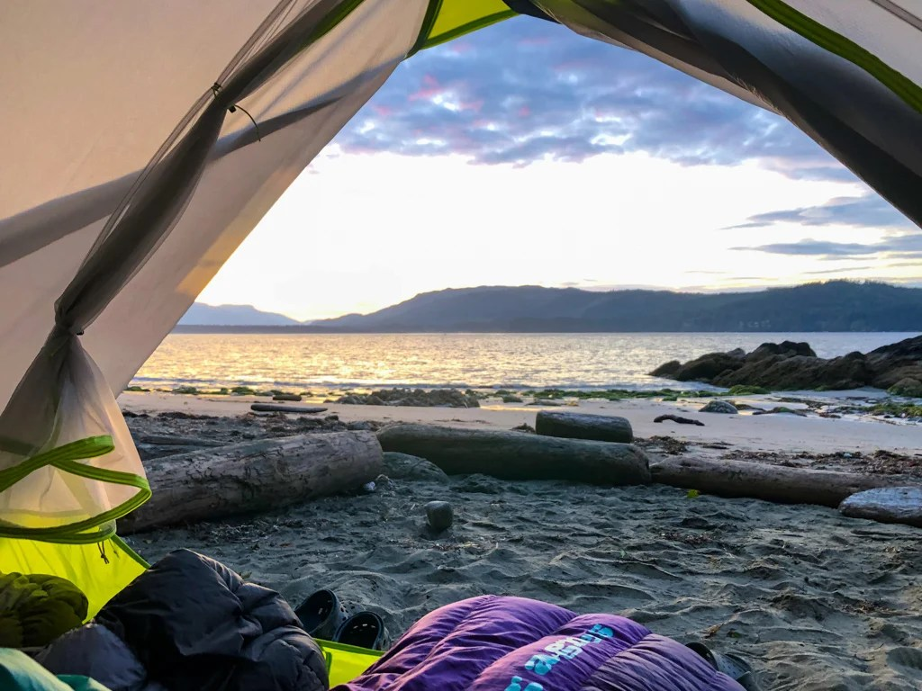 West Coast Trail camping: the view from a tent at Thrasher Cove Campground