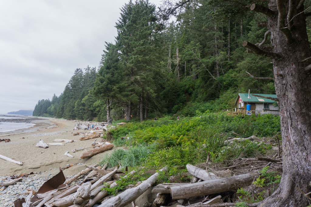 The Tsocowis Creek guardian cabin on the West Coast Trail is next to the campsite