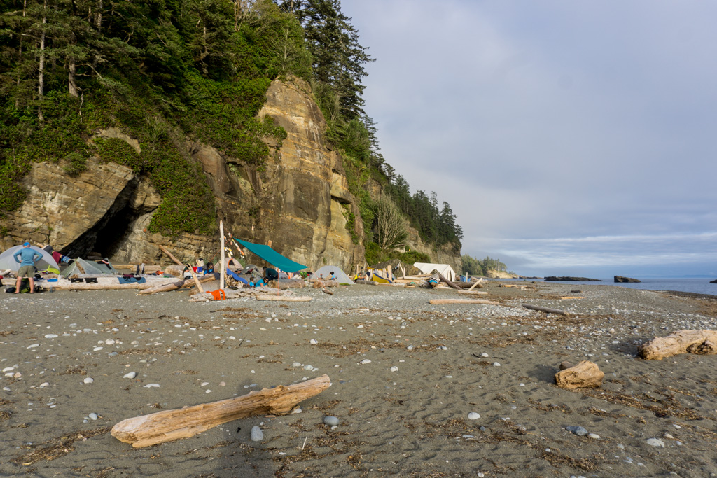 Tents on the beach at Tsusiat Falls on the West Coast Trail