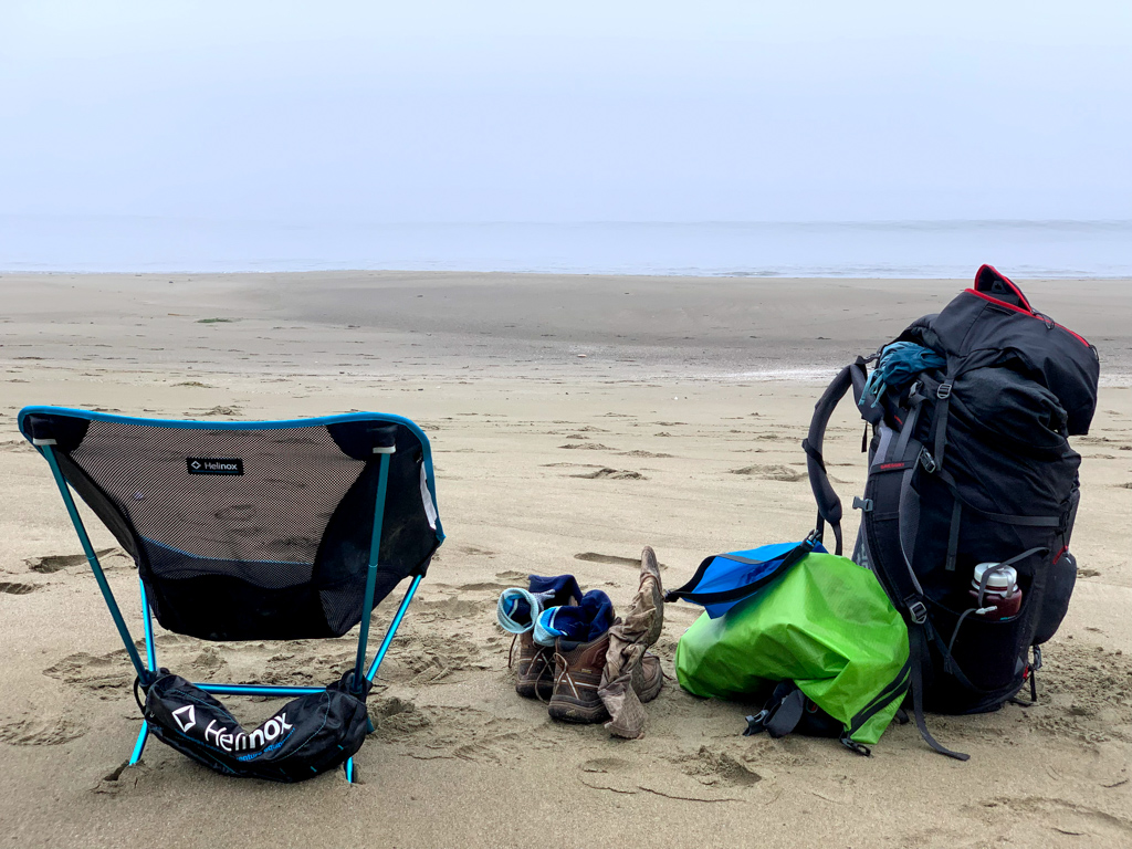 A ultralight chair on the beach on the West Coast Trail