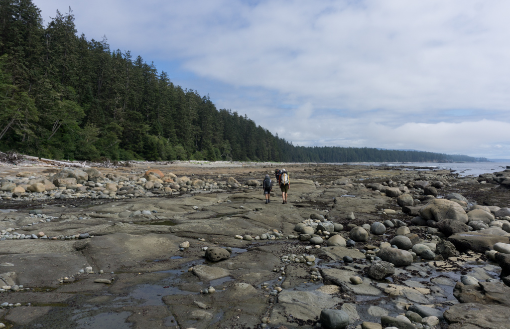 Hikers walking on the sandstone coastal shelf near Klanawa River on the West Coast Trail