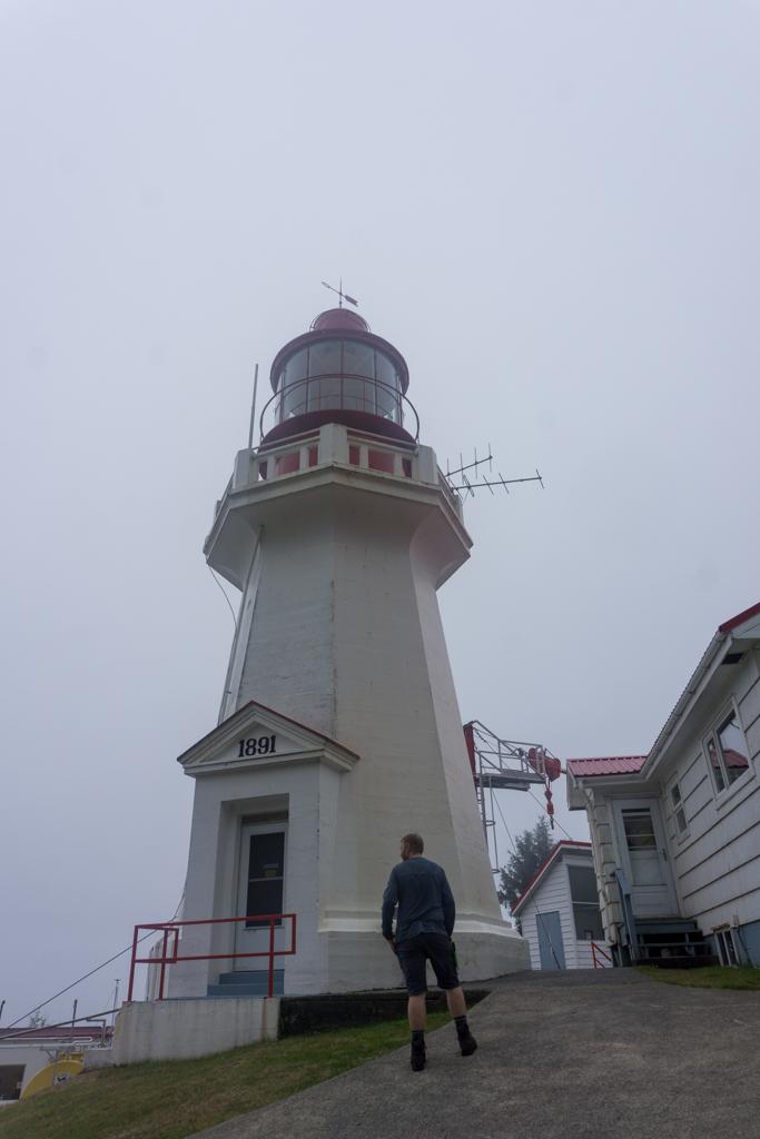 Carmanah Lighthouse in the fog on the West Coast Trail