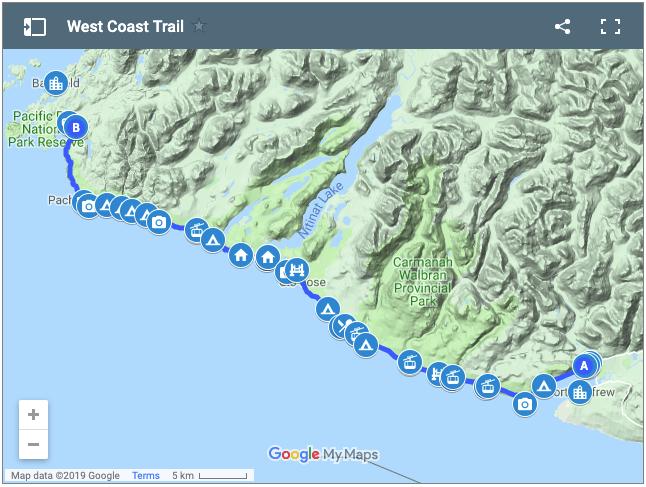 West Coast Trail google map
