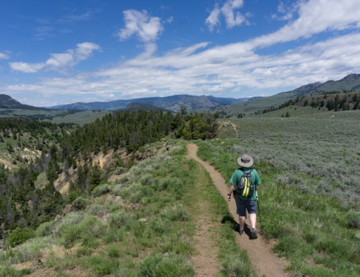 A hiker in Yellowstone National Park. Best hikes in Yellowstone National Park