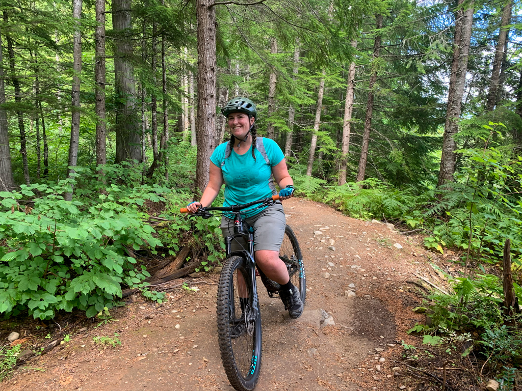 A woman on a mountain bike in Revelstoke