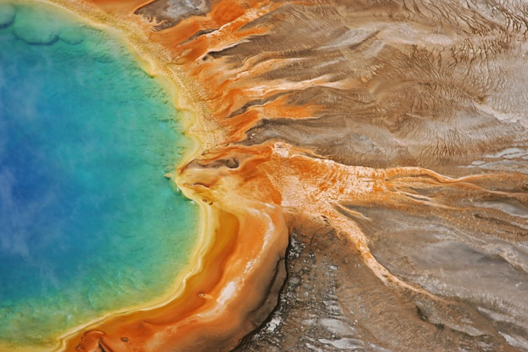 Grand Prismatic Spring from above, one of the coolest things to do in Yellowstone National Park
