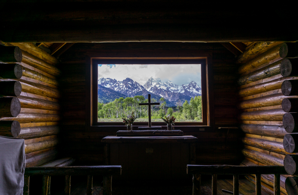 The altar at the Chapel of the Transfiguration in Grand Teton National Park