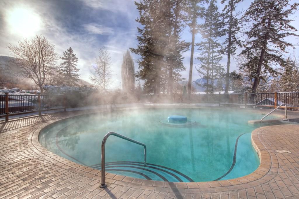 A pool at Fairmont Hot Springs Resort in British Columbia, Canada