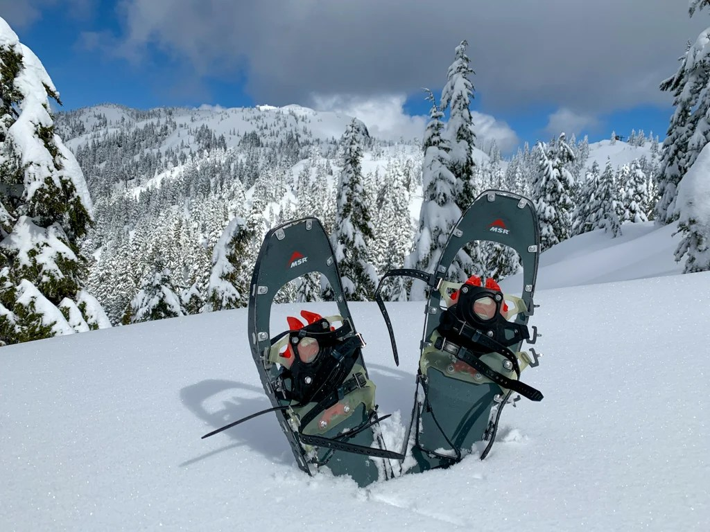 A pair of snowshoes at Mount Seymour near Vancouver, BC