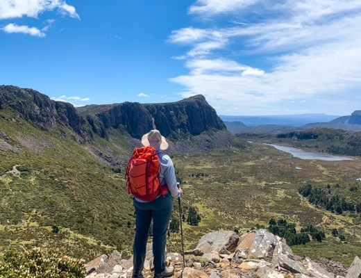 A hiker in Walls of Jerusalem National Park in Tasmania