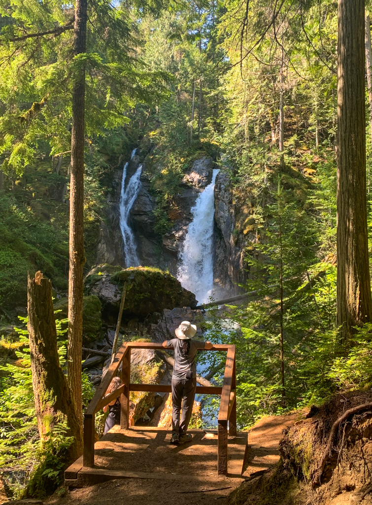 A hiker stands at a small viewing platform in front of Begbie Falls in Revelstoke