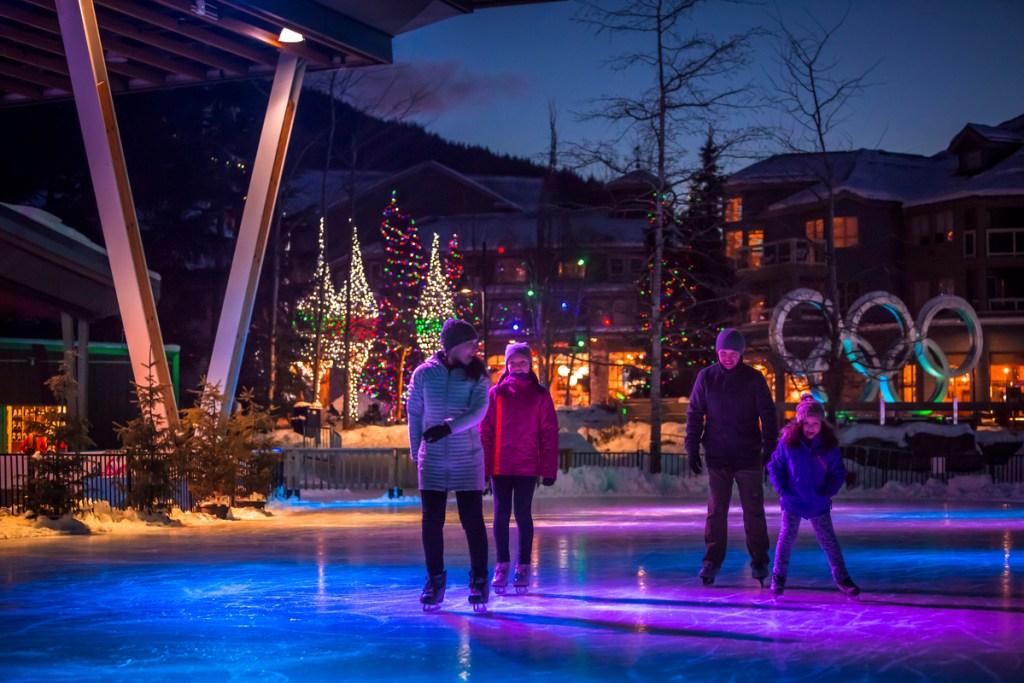 Ice skating in Whistler village