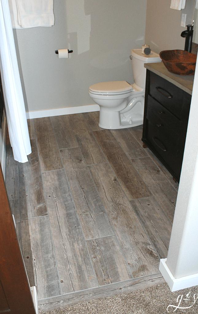 plank tile bathroom flooring