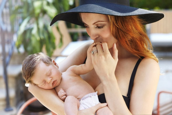 no re-use without permission. Fees must be confirmed before any publication.) Eva Amurri Martino, Kyle Martino, and their daughter Marlowe Mae Martino are seen during an at home photo shoot September 2, 2014 in Los Angeles, California. Hair by Gio Campora; makeup by Amy Nadine and styling by Lauren Sample. (Photo by Regine Mahaux/Getty Images)