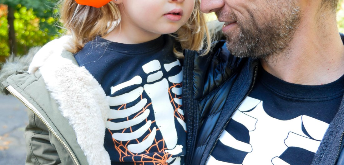 Kyle Martino and Marlowe Martino dressed up as skeletons on halloween
