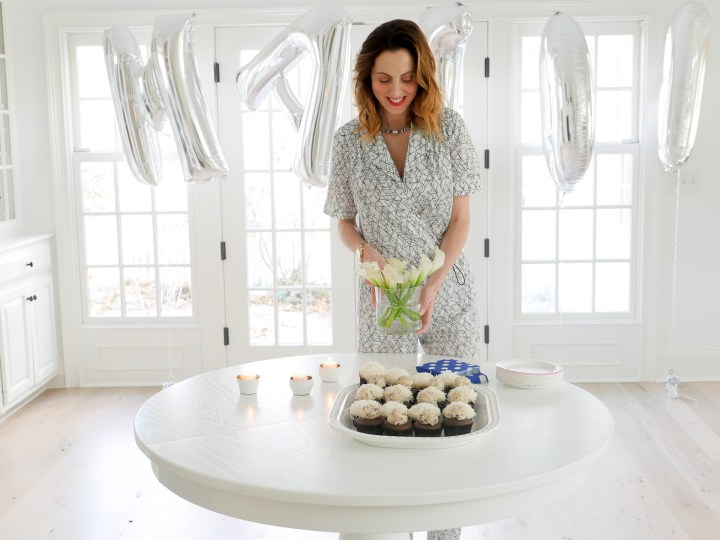 Eva Amurri Martino of lifestyle and motherhood blog Happily Eva After sets the scene for the Sip And See to celebrate her newborn son Major James