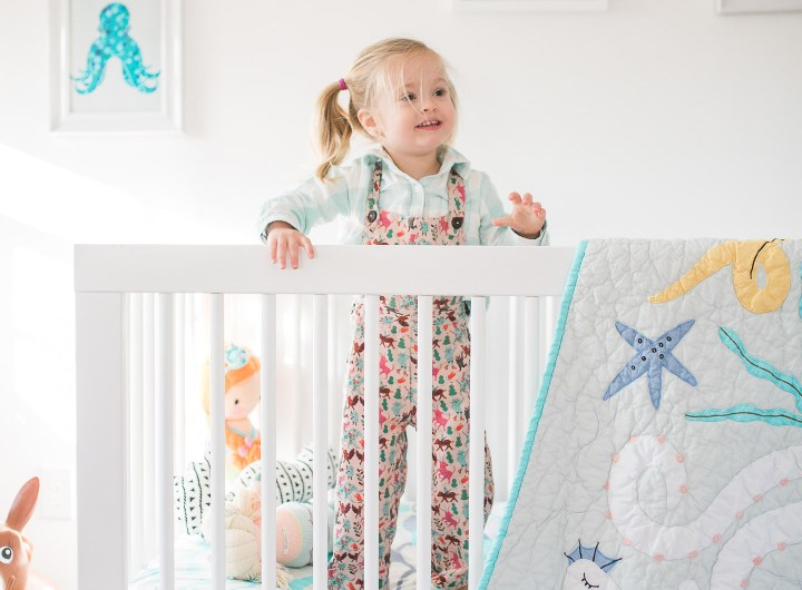 Marlowe Martino pictured in her mermaid inspired bedroom in her home in Connecticut designed by mother Eva Amurri Martino of lifestyle and motherhood blog Happily Eva After