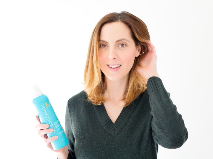 Eva Amurri Martino poses with a soft bouncy blowout and moroccan oil volumizing mousse