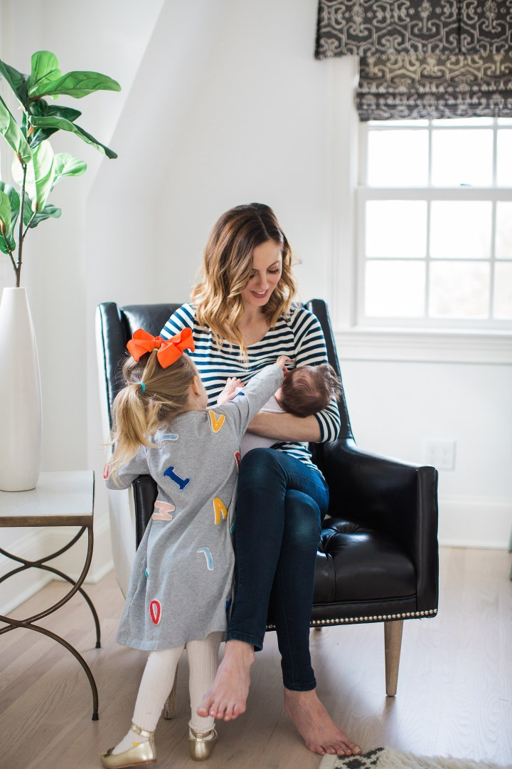 Eva Amurri Martino breastfeeds her newborn son, major, while daughter Marlowe looks on