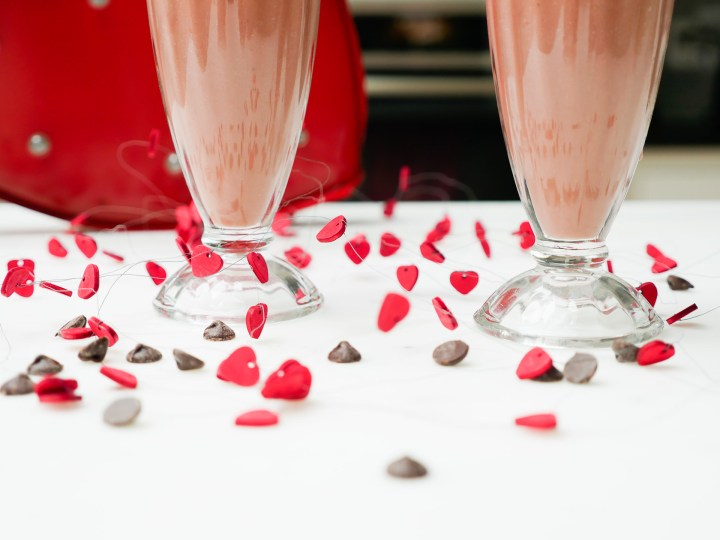 a chocolate covered strawberry smoothie for Valentine's day