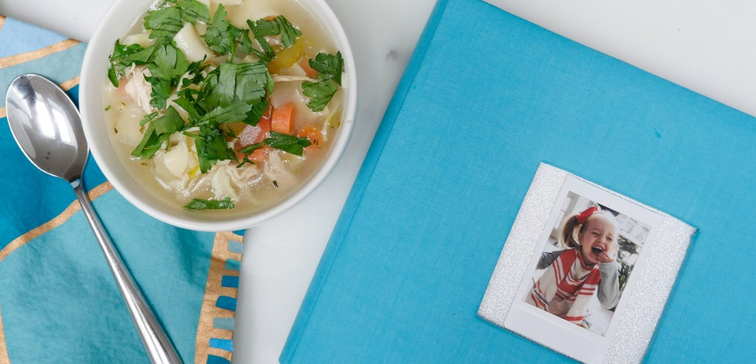 Eva Amurri Martino documents her chicken soup cooking experience with daughter Marlowe using the Fujifilm instax mini 70 instant film