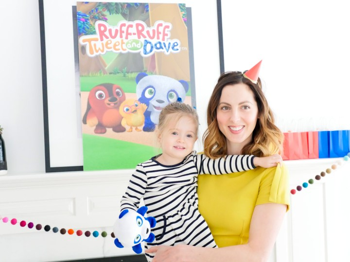 Eva Amurri Martino and daughter Marlowe Martino get ready to celebrate at their Ruff-Ruff, Tweet and Dave season premiere viewing party