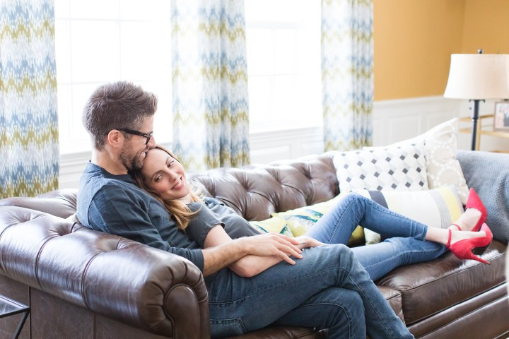 Eva Amurri Martino and Kyle Martino embrace on the couch of their Connecticut home