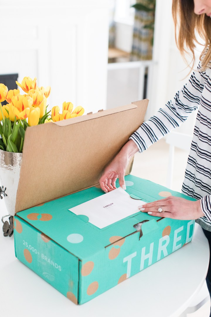 A detail of the cute polka dot packaging of the thredUP delivery box