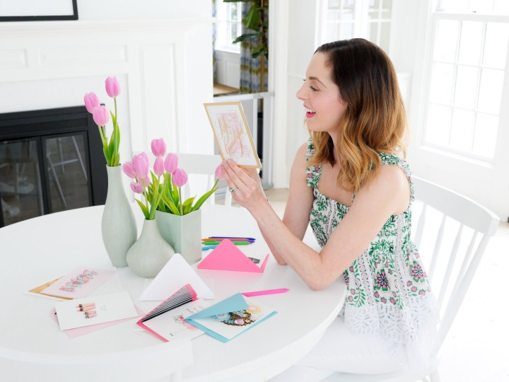 Eva Amurri Martino shows off a particularly fancy lucite Hallmark Signature Greeting Card for mother's day