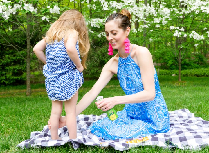 Eva Amurri Martino sprays JASON bug spray on her two year old daughter Marlowe