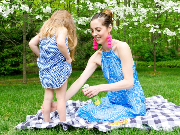 Eva Amurri Martino sprays JASON bug spray on her two year old daughter Marlowe