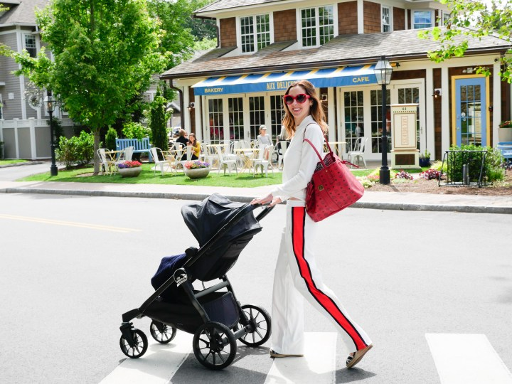 Eva Amurri Martino takes her convertible Baby Jogger stroller to get coffee with her youngest child