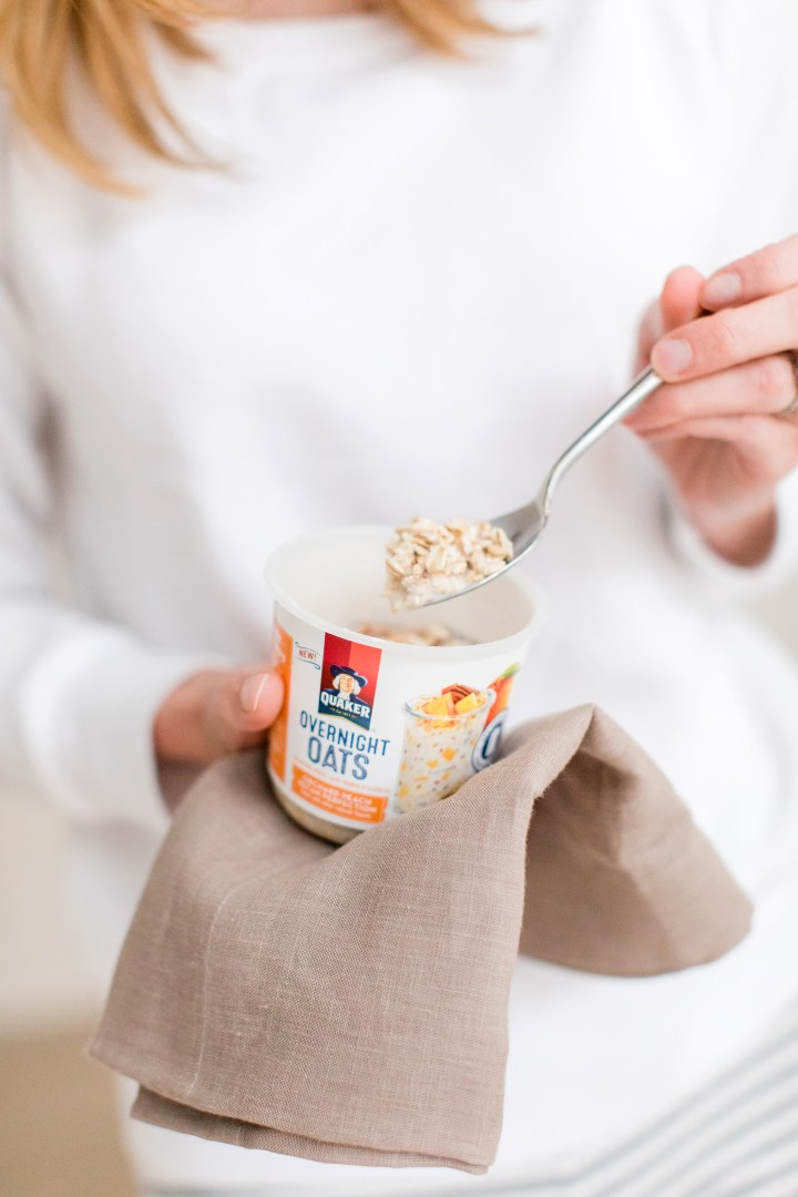 After steeping overnight, Eva Amurri Martino wears pajamas and prepares to eat her Quaker Overnight Oats for breakfast