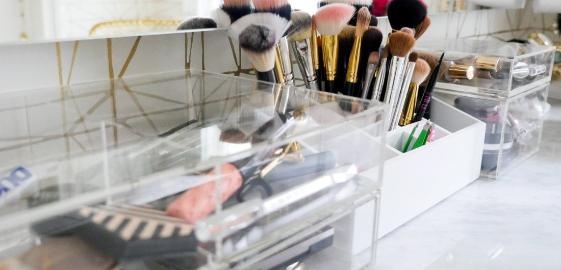 An array of acrylic stackable storage drawers to house makeup in the glam room of Eva Amurri Martino's Connecticut home
