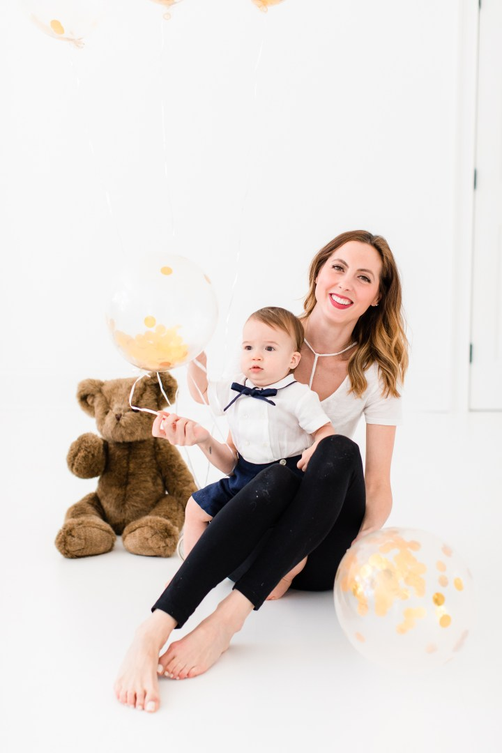 Eva Amurri Martino sits with one year old son Major for his first birthday portraits