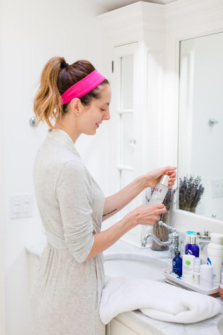 Eva Amurri Martino uses SKII facial treatment essence as a part of her daily skincare routine