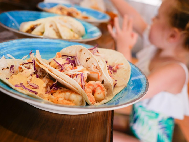 Delicious and authentic tacos at the snack bar at the Hyatt Ziva resort in Los Cabos, Mexico