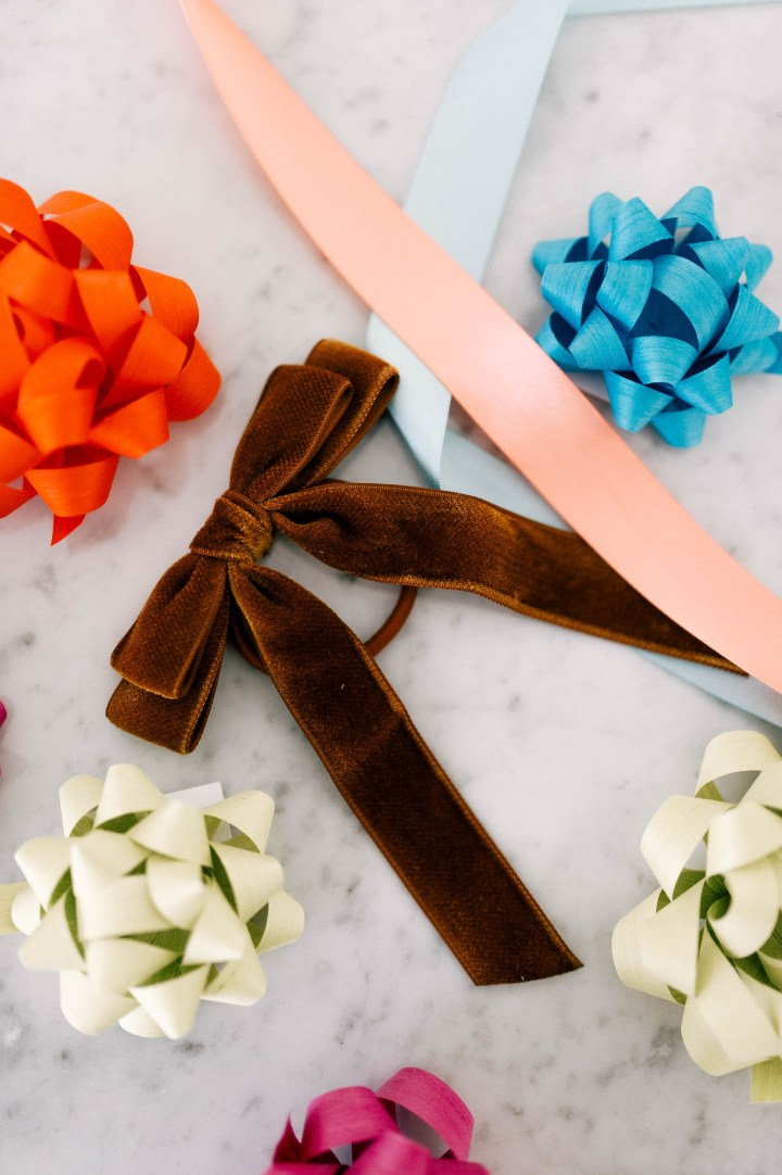 Eva Amurri Martino shares a velvet bow hair tie as part of her monthly obessions roundup