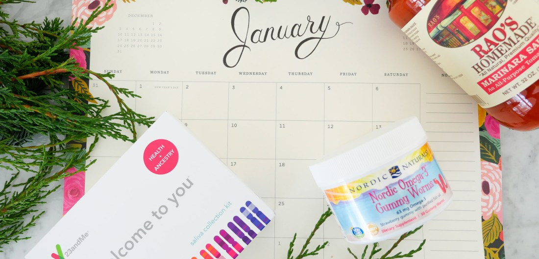 Eva Amurri martino shares a roundup of her favorite products for the month of January, including a DNA kit, Omega-3 gummy worms, pasta sauce, and a calendar
