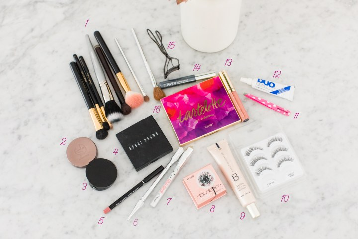 Eva Amurri martino shares a selection of her makeup products that she uses to apply her makeup look for blog photo shoots
