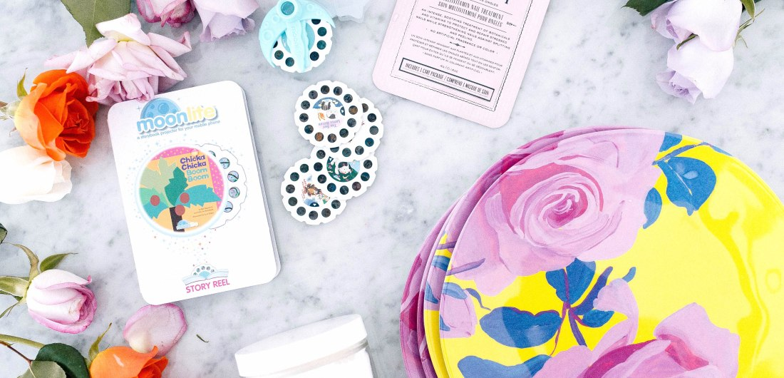 Eva Amurri Martino shares a roundup of products that she is loving for April, including Melamine plates, a nail mask, a storybook projector app, and a bath soak