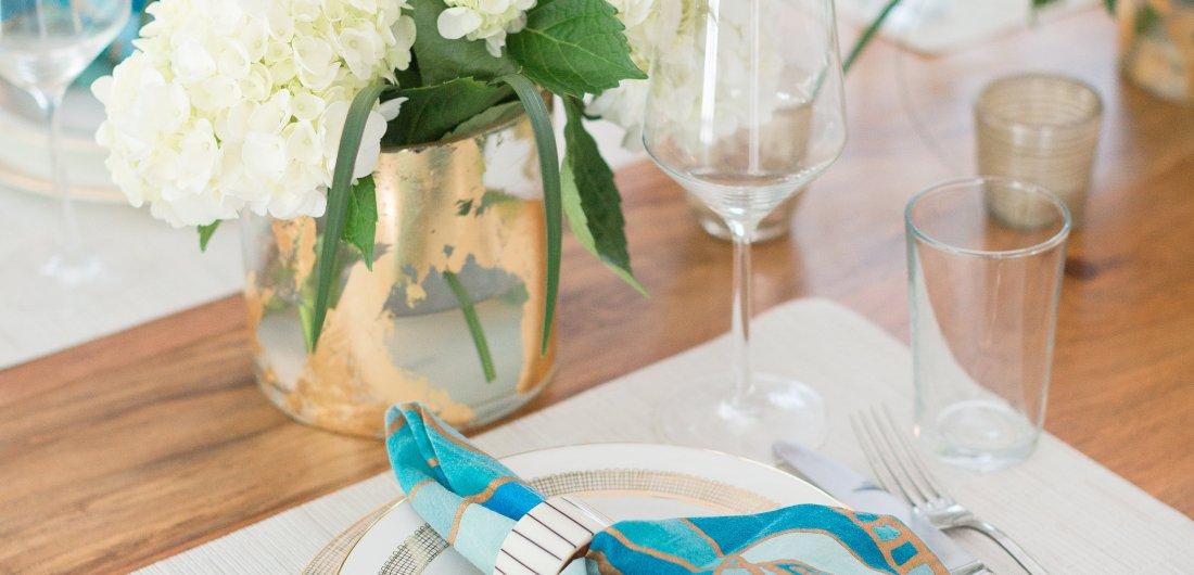 A closeup of Eva Amurri Martino's wedding china