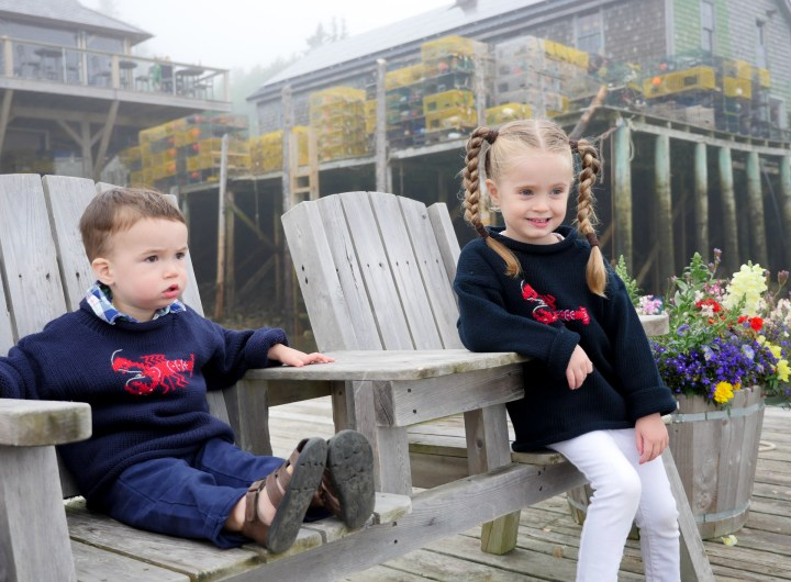 Eva Amurri Martino's kids Marlowe and Major sit in adirondack chairs in Bar Harbor, ME.
