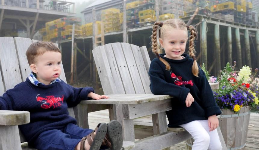 Eva Amurri Martino's kids Marlowe and Major sit in adirondack chairs in Bar Harbor, ME.
