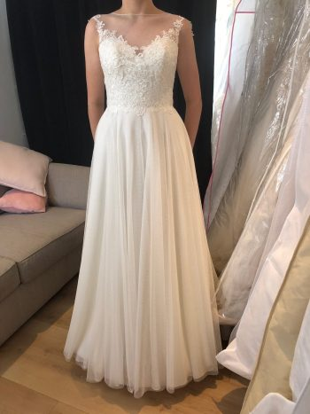 Mary's Bridal Illusion-Backed Gown - Size 8