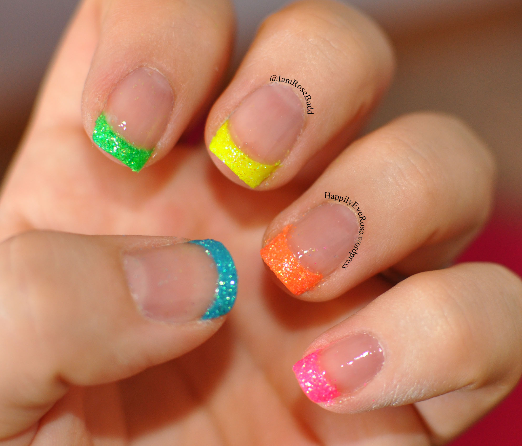 Neon French Tip With Animal Print And Neon Glitter Happilyeverose