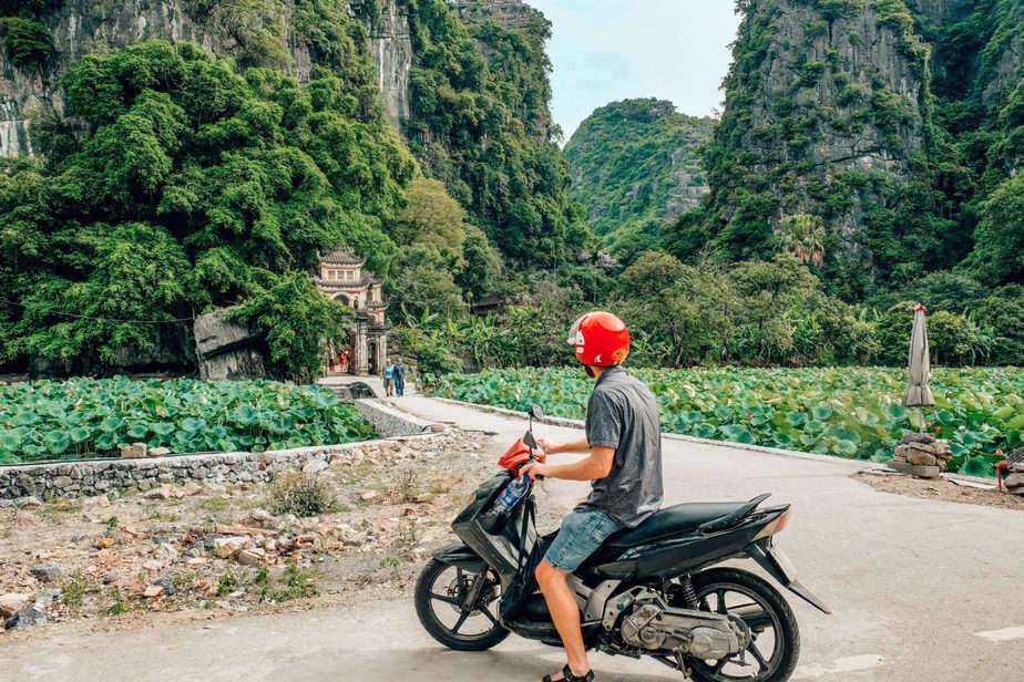 Bich Dong Pagoda on a motorbike
