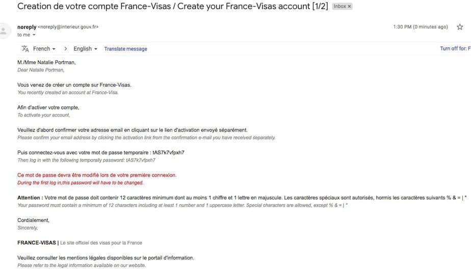 Email Confirmation from France Visa Website