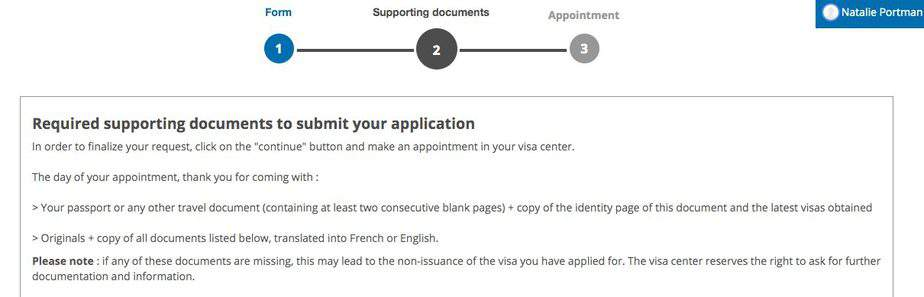 Supporting documents for France Visa